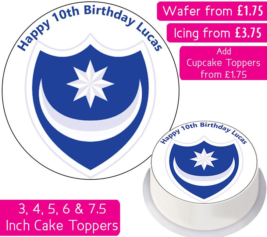 Portsmouth Football Personalised Cake Topper