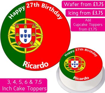 Portugal Flag Personalised Cake Topper