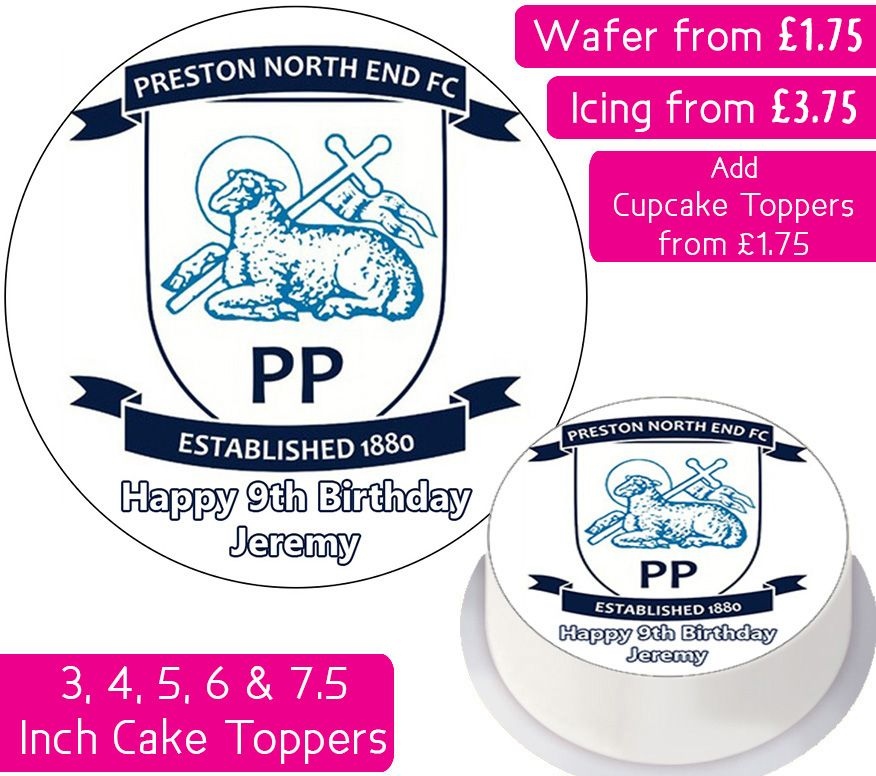 Preston North End Football Personalised Cake Topper