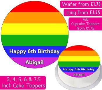 Rainbow Flag Personalised Cake Topper