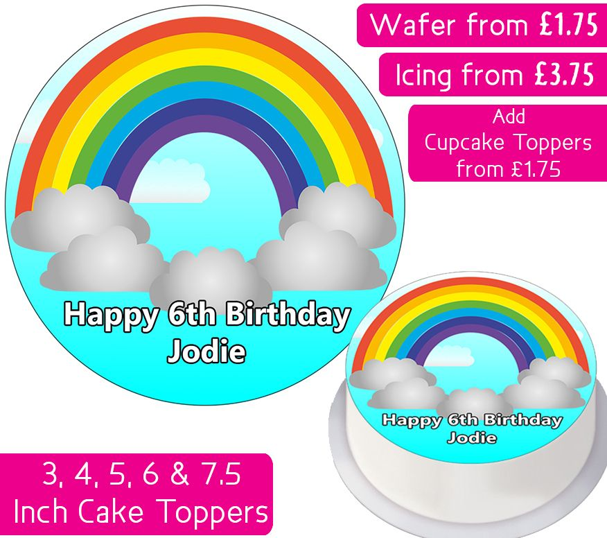 Rainbow Personalised Cake Topper