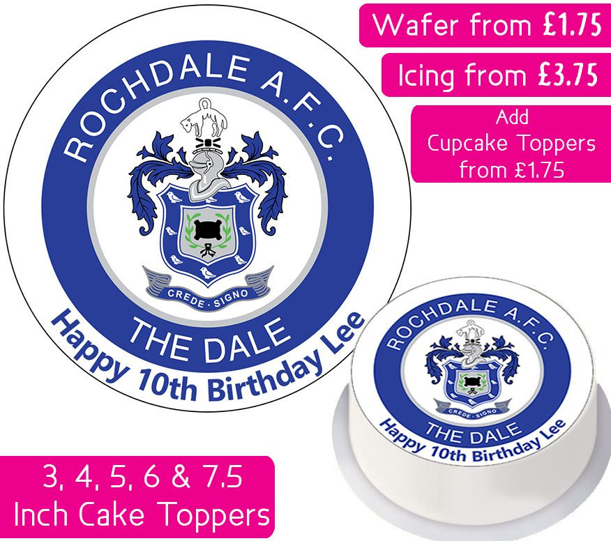 Rochdale AFC Football Personalised Cake Topper