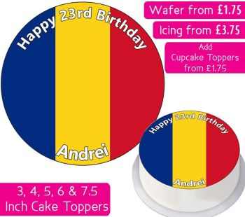 Romania Flag Personalised Cake Topper