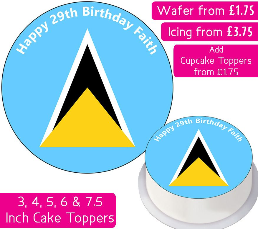 Saint Lucia Flag Personalised Cake Topper