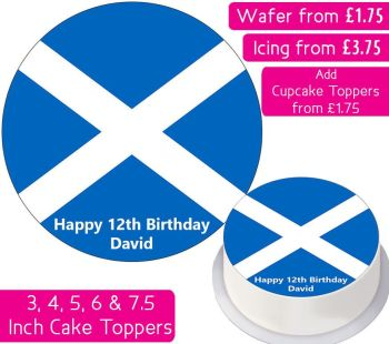Scotland Flag Personalised Cake Topper