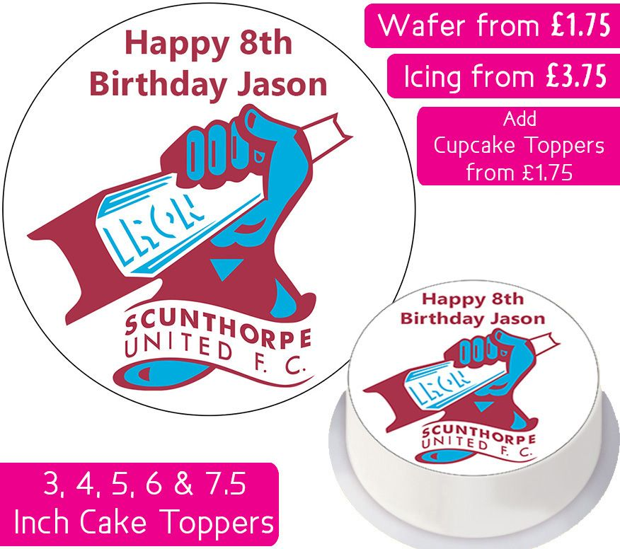 Scunthorpe United Football Personalised Cake Topper
