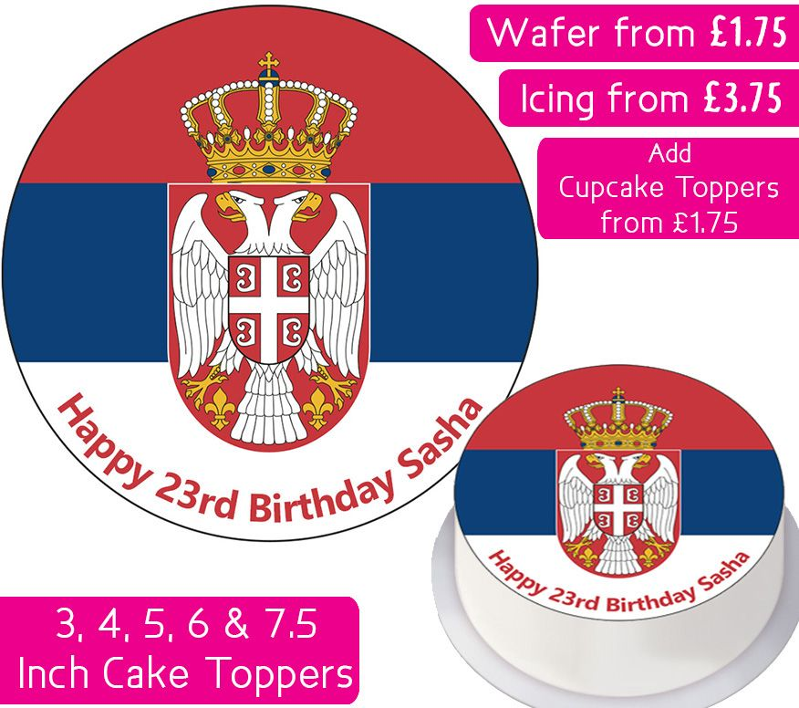 Serbia Flag Personalised Cake Topper
