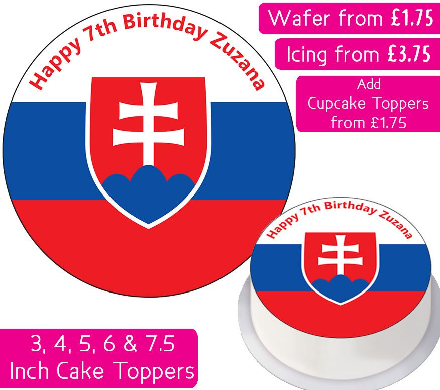 Slovakia Flag Personalised Cake Topper