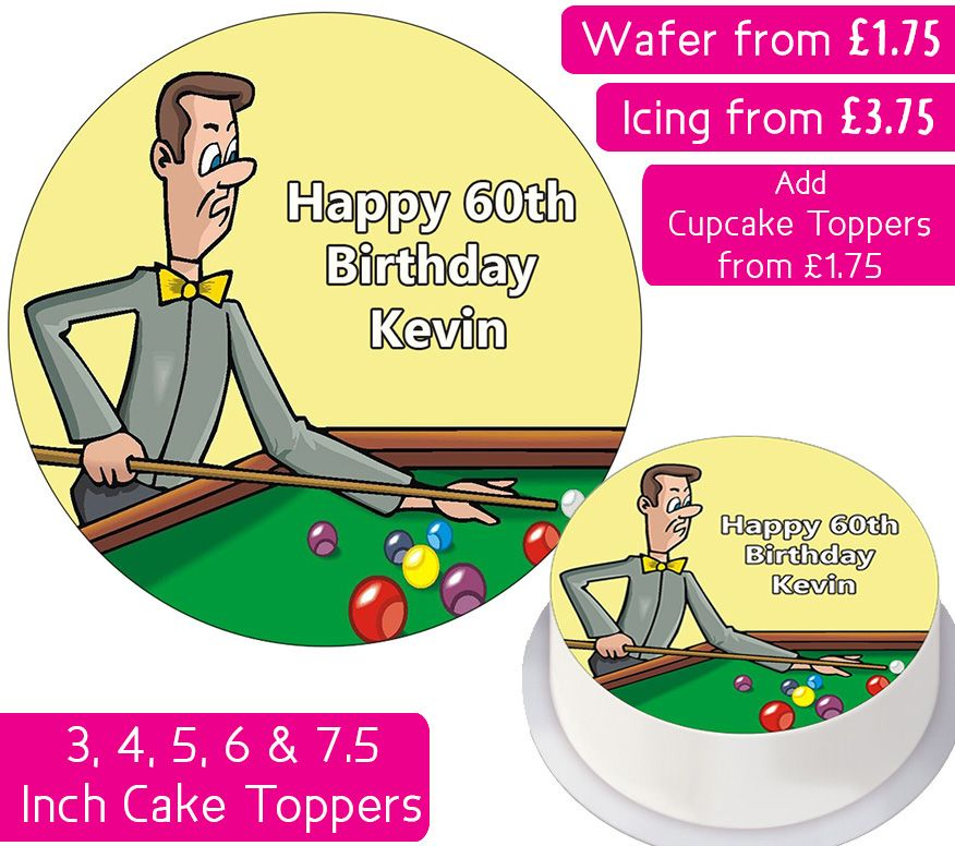 Snooker Personalised Cake Topper