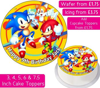 Sonic The Hedgehog Personalised Cake Topper