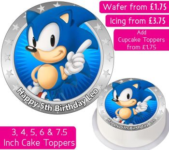 Sonic The Hedgehog Solo Personalised Cake Topper