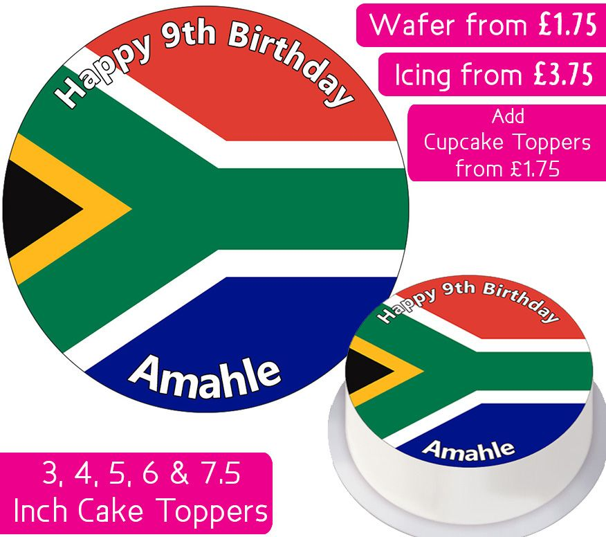 South Africa Flag Personalised Cake Topper