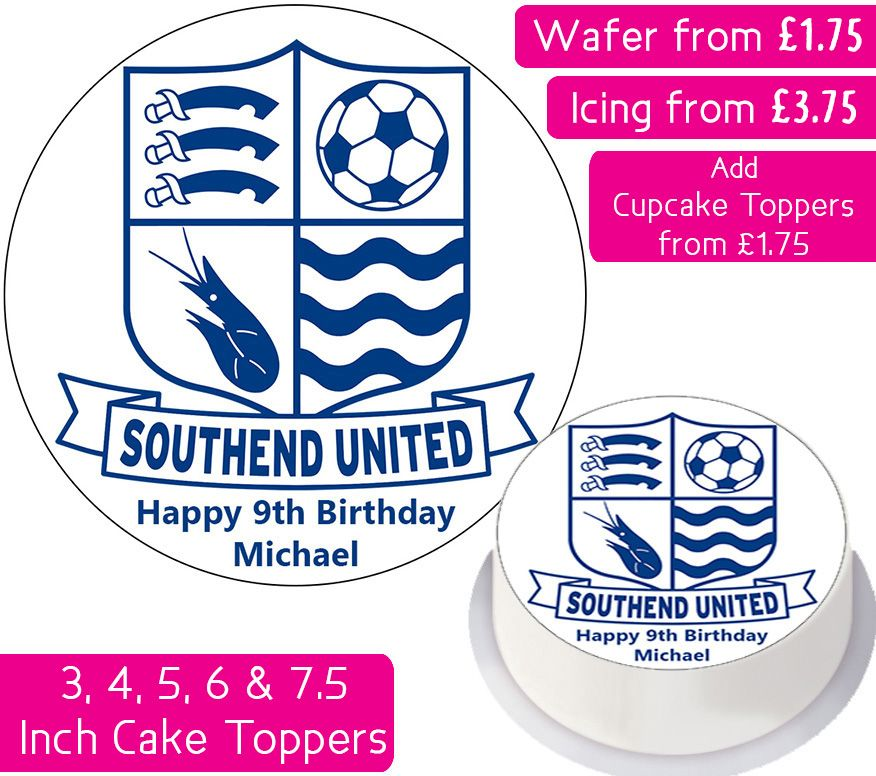 Southend United Football Personalised Cake Topper
