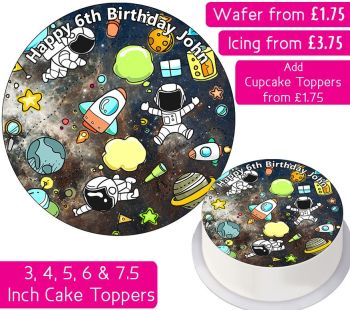 Space Personalised Cake Topper