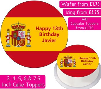 Spain Flag Personalised Cake Topper
