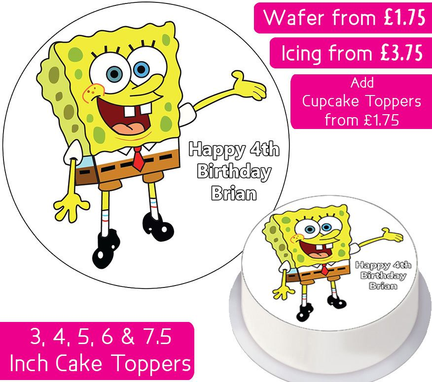 Spongebob Squarepants Plain Personalised Cake Topper