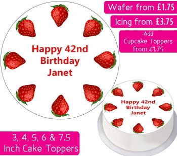 Strawberry Cake Personalised Cake Topper