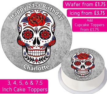 Sugar Skull Personalised Cake Topper
