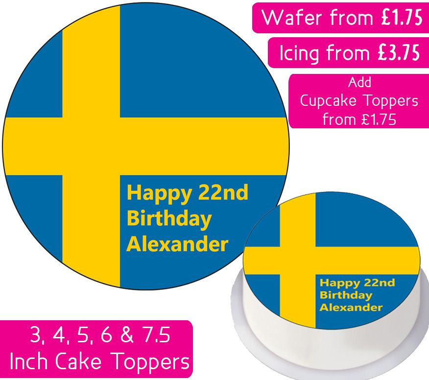 Sweden Flag Personalised Cake Topper