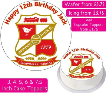 Swindon Town Football Personalised Cake Topper