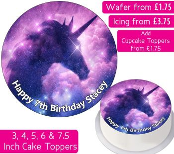 Unicorn Space Personalised Cake Topper