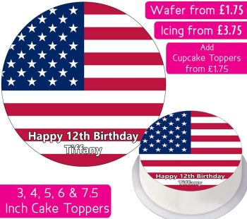 United States Flag Personalised Cake Topper