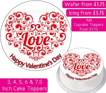 Valentines Love Heart Personalised Cake Topper