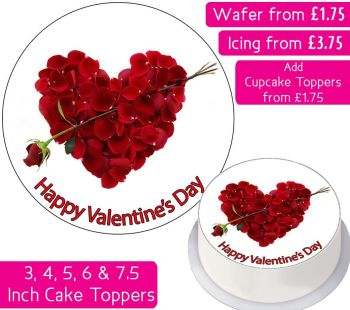 Valentines Petals Heart Personalised Cake Topper