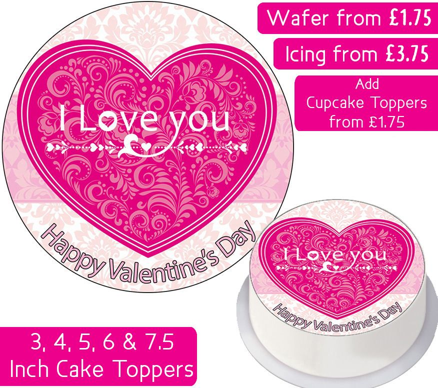 Valentines Pink Heart Personalised Cake Topper