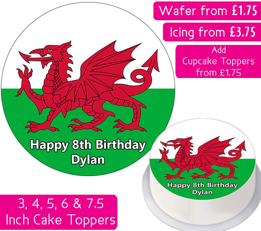 Welsh Flag Personalised Cake Topper