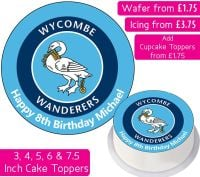 Wycombe Wanderers Football Personalised Cake Topper