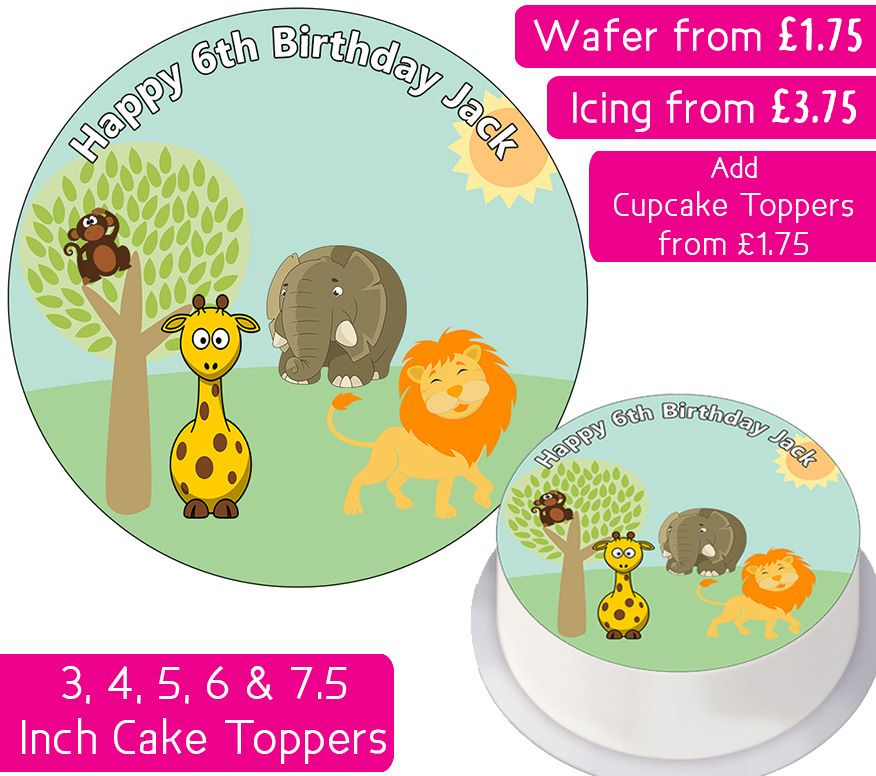 Zoo Animals Personalised Cake Topper