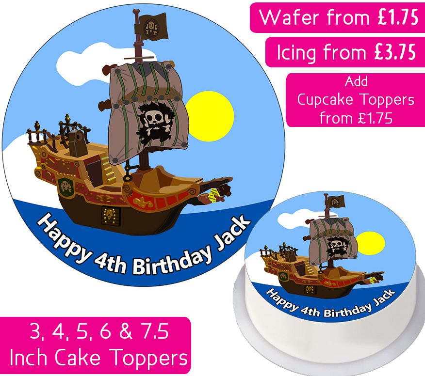 Pirate Ship Personalised Cake Topper