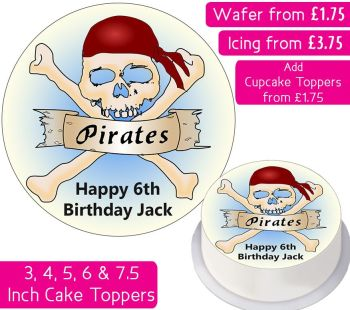 Pirate Skull Personalised Cake Topper