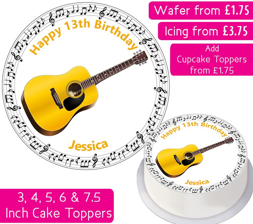 Guitar Instrument Personalised Cake Topper