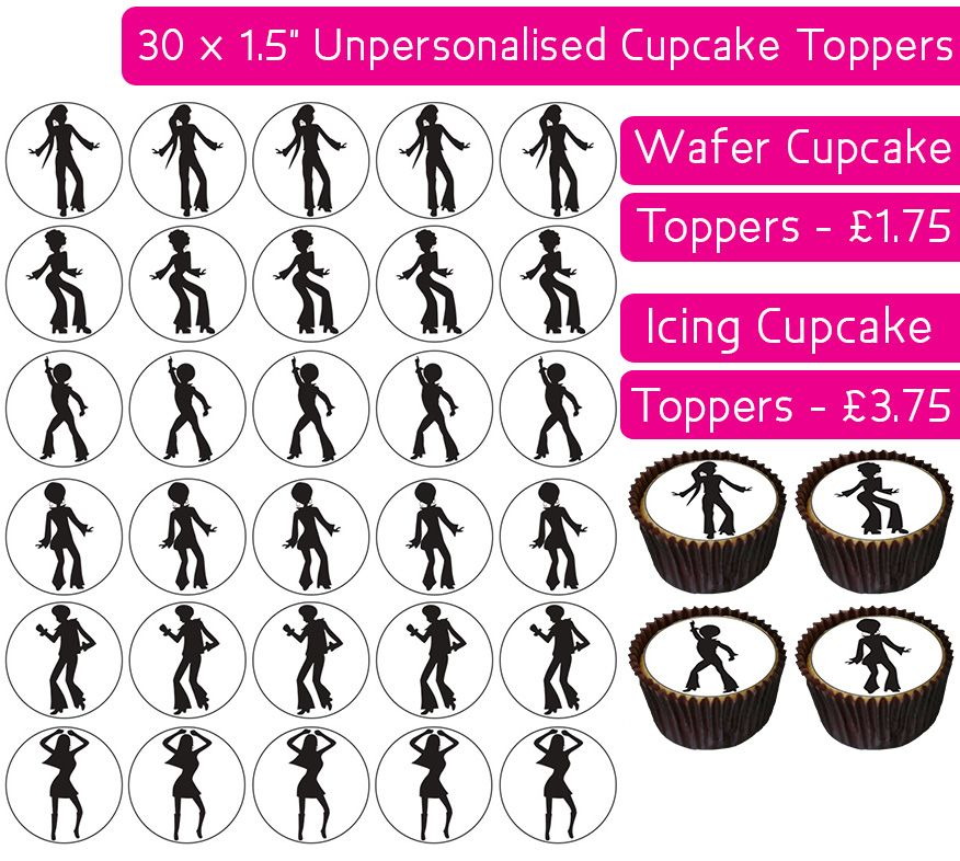 Disco Silhouettes - 30 Cupcake Toppers