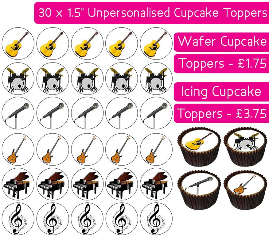 Musical Instruments - 30 Cupcake Toppers