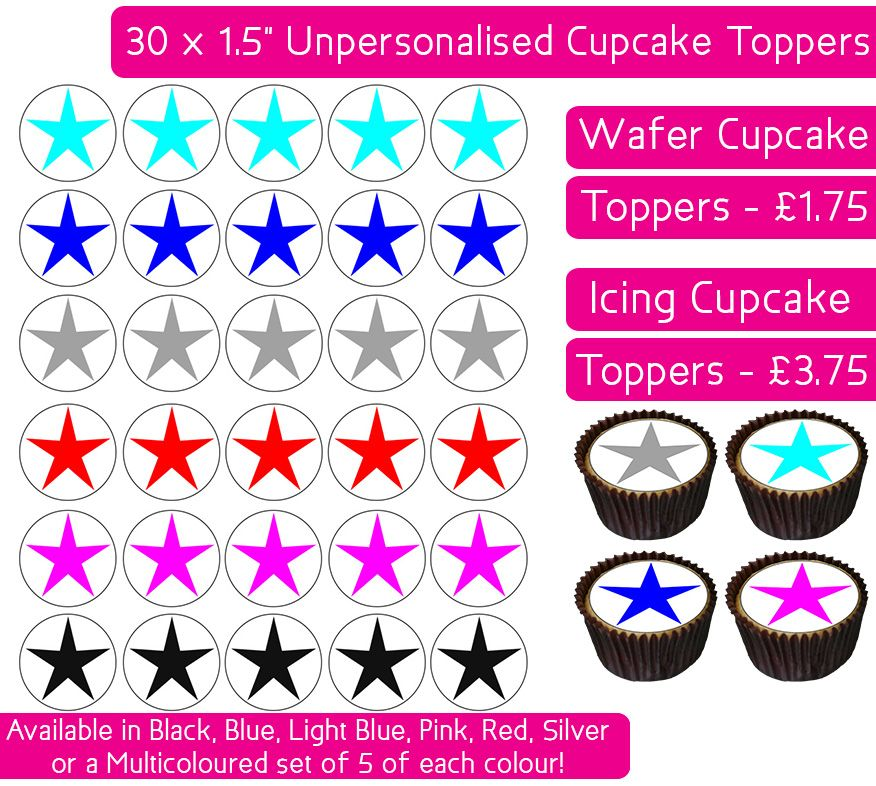 Coloured Stars - 30 Cupcake Toppers