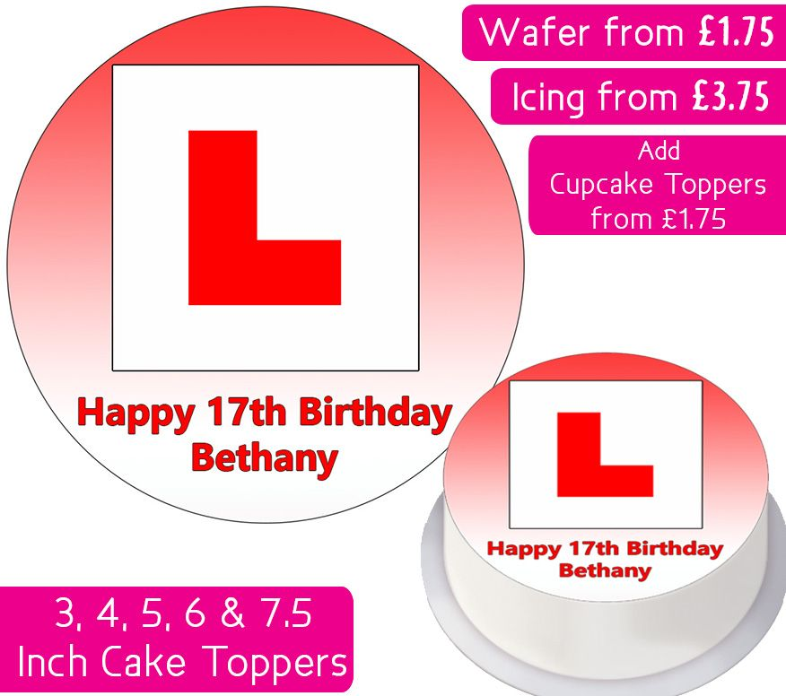 L Plate - Red - Personalised Cake Topper