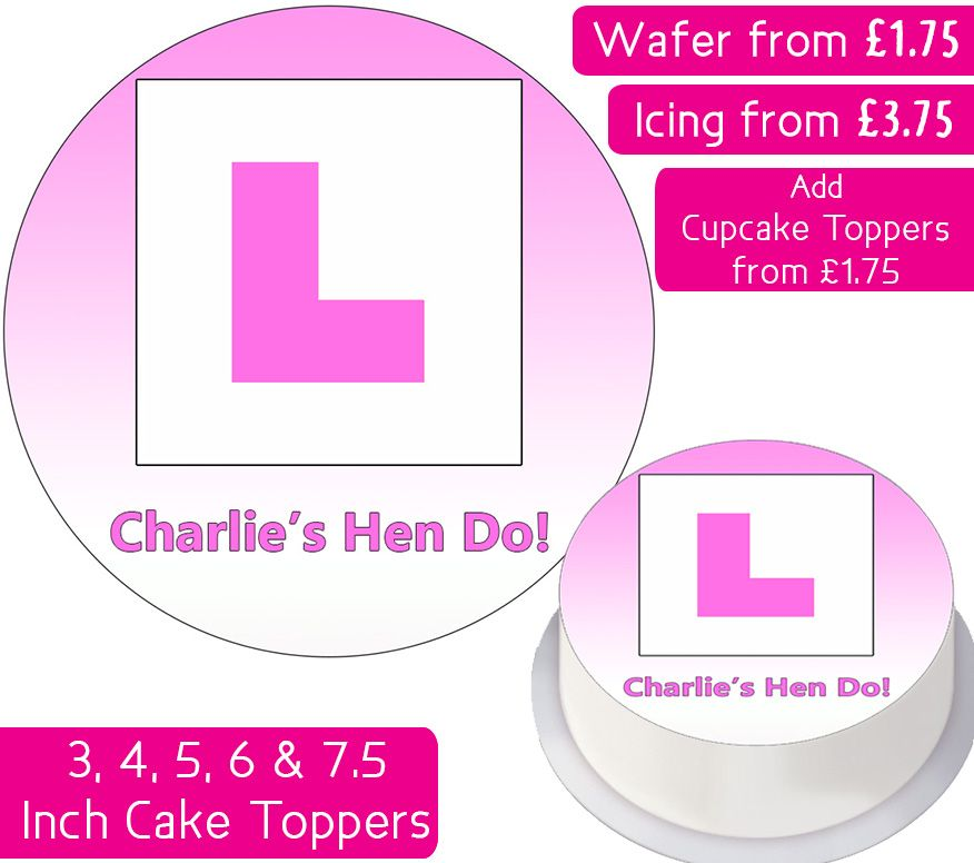 L Plate - Pink - Personalised Cake Topper