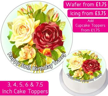 Flowers Personalised Cake Topper