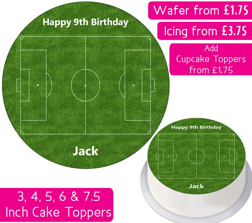 Football Pitch Personalised Cake Topper