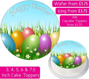 Easter Eggs Field Personalised Cake Topper