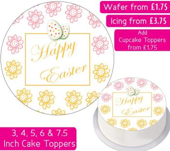Easter Flowers Personalised Cake Topper