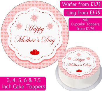 Mother's Day Hearts Personalised Cake Topper