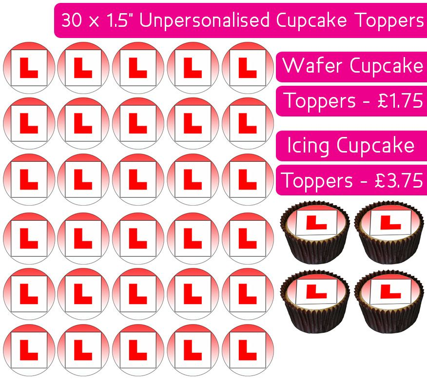 L Plate - Red - 30 Cupcake Toppers