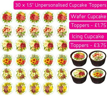 Flowers - 30 Cupcake Toppers