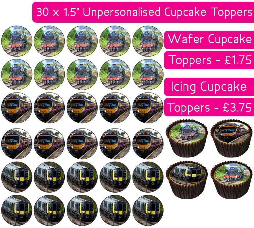 Trains - 30 Cupcake Toppers