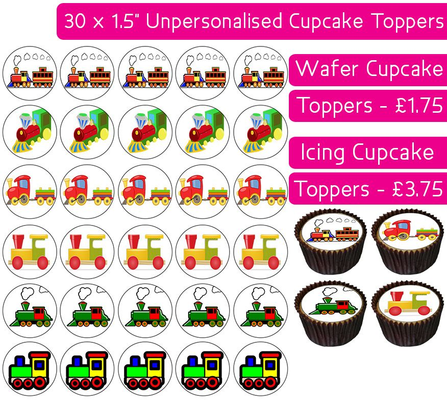 Toy Trains - 30 Cupcake Toppers