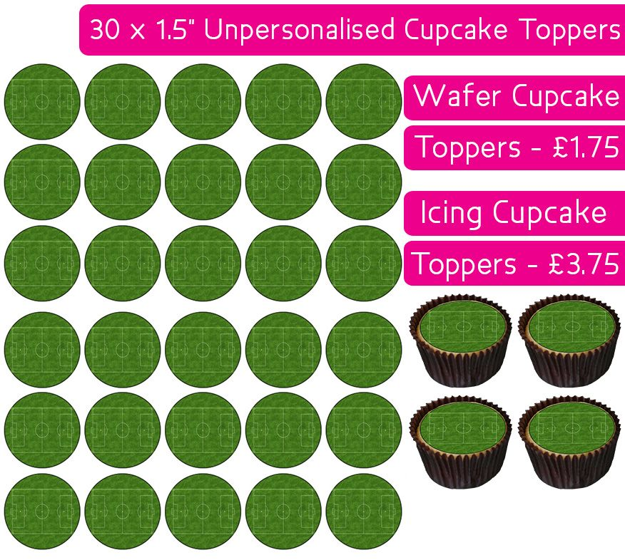 Football Pitch - 30 Cupcake Toppers